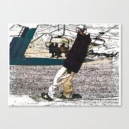 Sliding In - Snowboarder Fool Canvas Print