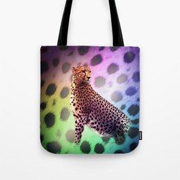 Cute Rainbow Cheetah Tote Bag