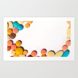 Numerous colorful pills on white background. Art Print