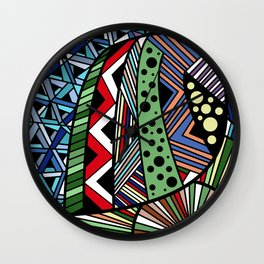 IT'S RAINING COLORS! (abstract tribal) Wall Clock