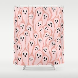 Ghostly Swarm on Pattern | Pink Shower Curtain
