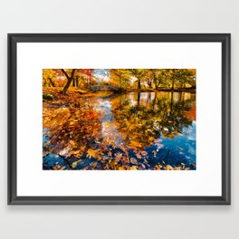 Boston Fall Foliage Reflection Framed Art Print