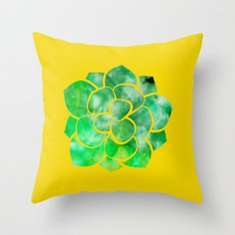 Succulent - Yellow and Green Ice Dye Throw Pillow