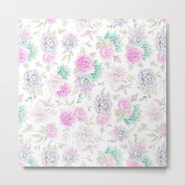 Pastel pink turquoise watercolor hand painted cactus floral Metal Print