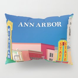 Ann Arbor, Michigan - Skyline Illustration by Loose Petals Pillow Sham