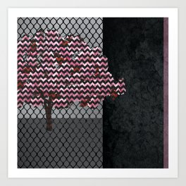 Abstract Pink Blossom tree composition on rust Art Print