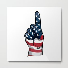 USA One Patriotic Hand in Red, White and Blue Stars and Stripes Metal Print