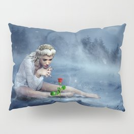 Amazing Beautiful Fantasy Snow Girl Liking Red Rose Ultra HD Pillow Sham