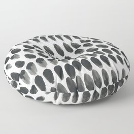 Black and White Abstract Watercolor Polka Dot Brushtrokes Painting Floor Pillow