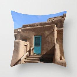Taos Pueblo  Blue Door Throw Pillow