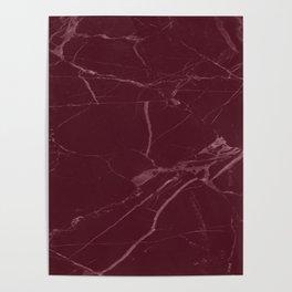 modern burgundy marble look Poster