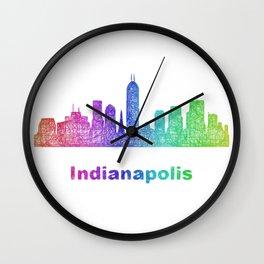 Rainbow Indianapolis skyline Wall Clock