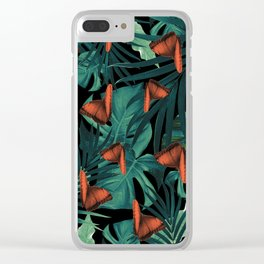 Tropical Butterfly Jungle Night Leaves Pattern #2 #tropical #decor #art #society6 Clear iPhone Case