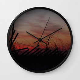 Fallen Down Fence Sunset Wall Clock