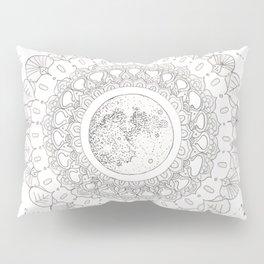 Mandala with Full Moon and Constellations Illustration Pillow Sham