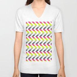 Neon Strawberry - Chevron Geometric Pattern Unisex V-Neck