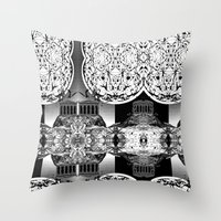 buildings Throw Pillows featuring Buildings by Spew Jersey