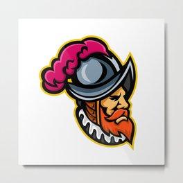 Spanish Conquistador Head Mascot Metal Print