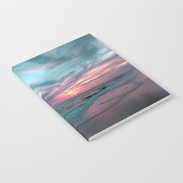 Pink and Teal Beach Sunset tropical vacation Notebook