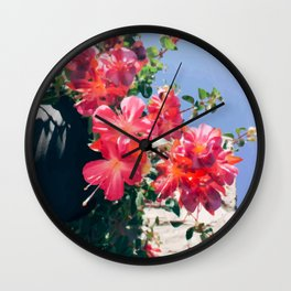Sky Flowers Painting. Pink Tropical-Looking Flowers in a Hanging Flower Pot Captured from Bellow Wall Clock