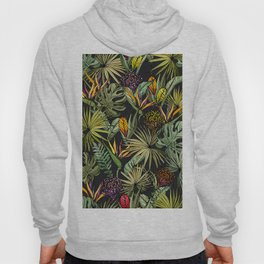 Tropical pattern on black Hoody