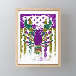 Mardi Gras Crawfish Costume - US Flag Crawfish Framed Mini Art Print