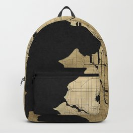 Seattle Black and Gold Street Map Backpack