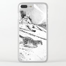 Snowboarder and snow leopard down the slope Clear iPhone Case
