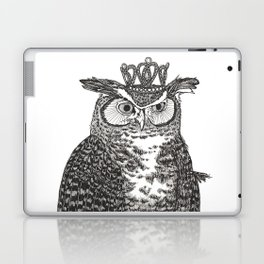 Great Horned Owl Wearing a Glittering Crown Laptop & iPad Skin