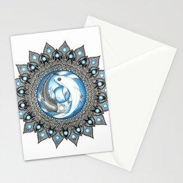 Yin and Yang Butterfly Koi Fish Mandala Stationery Cards