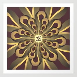 Om Mandala, Purple and Gold Fractal, Spiritual Gift, Yoga Lifestyle Art Print