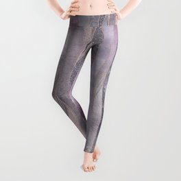Glamorous Rose Gold Purple Wavy Glitter Lines Leggings