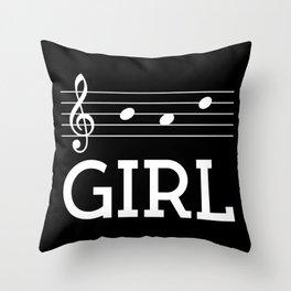 Bad girl (treble clef, dark colors) Throw Pillow