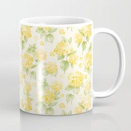 Modern  sunshine yellow green hortensia flowers Coffee Mug