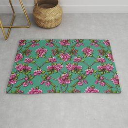 Spring Blossoms - Pink Crabapple Blossoms on Teal Rug