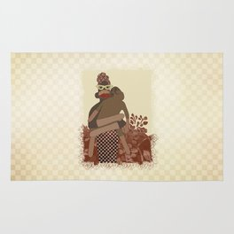 Sock Monkey Mother and Child Rug