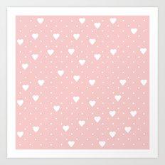 Pin Point Hearts Blush Art Print