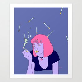 Chilling with a cig Art Print
