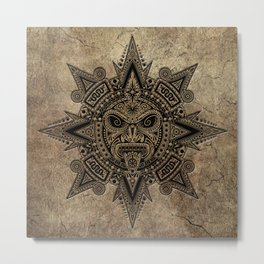 Ancient Stone Mayan Sun Mask Metal Print