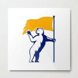 Polar Bear Holding Flag Waving Mascot Metal Print