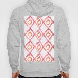 Fiery Coral - aztec watercolour pattern Hoody