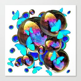 IRIDESCENT BLACK BUBBLES, BLUE BUTTERFLIES,PEACOCK ART Canvas Print