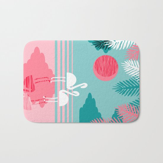 Chill Vibes - memphis retro throwback 1980s 80s neon pop art flamingo paradise socal vacation  Bath Mat
