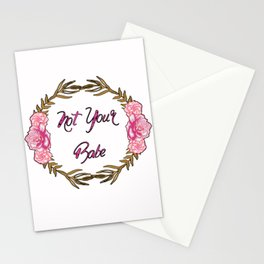 Not Your Babe - Pink and Gold gloral Wreath Stationery Cards