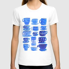 Coffee Mugs and Tea Cups - A study in blues T-shirt