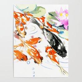 Nine Koi Fish, 9 KOI, feng shui artwork asian watercolor ink painting Poster