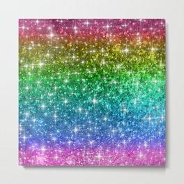 Rainbow Glitter Sparkles Metal Print