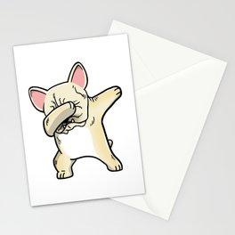 Funny Cream French Bulldog Dabbing Stationery Cards