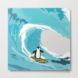 Surfing penguin Metal Print