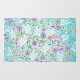 Pink teal hand painted watercolor floral pattern Rug